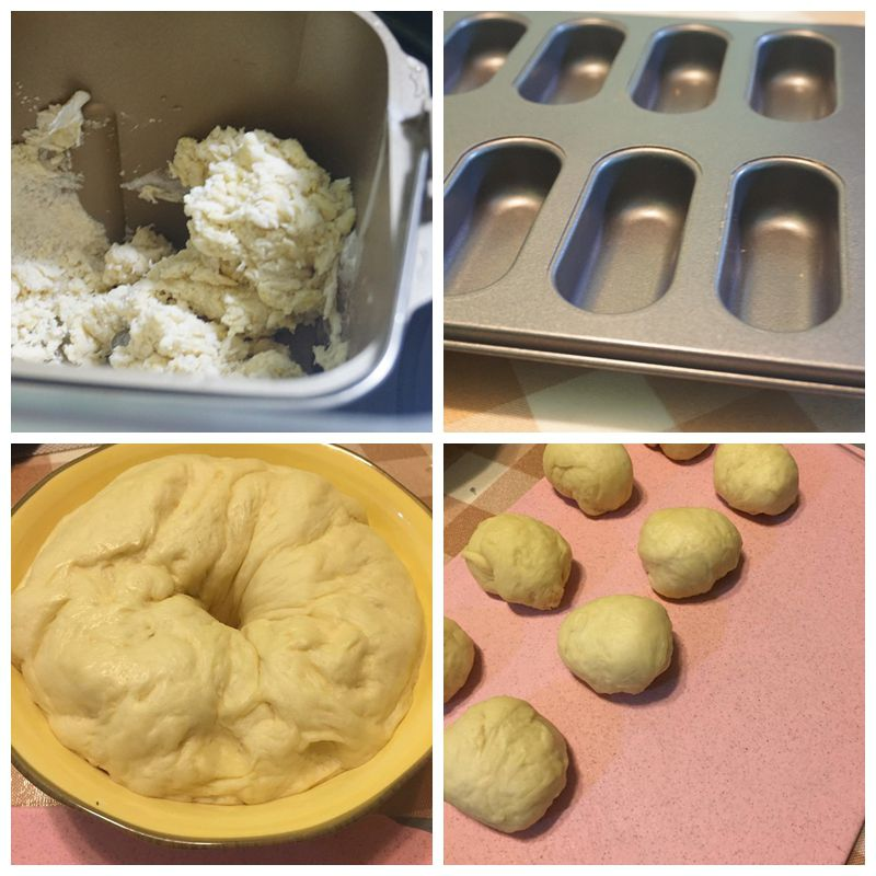 (假若没有面包机也可以参考手工揉面发酵步骤) 4.放入黄油. 5.