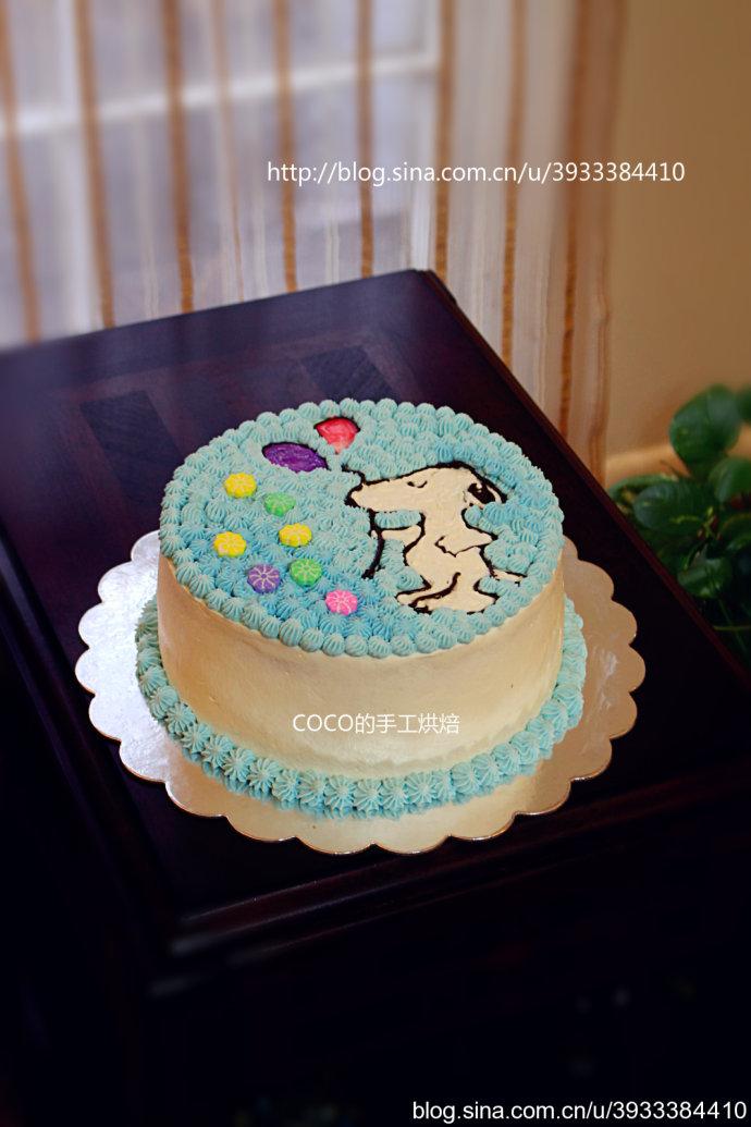 史努比生日蛋糕的做法 手绘史努比图案